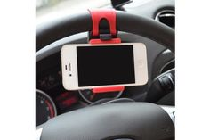 Universal Car Steering Wheel Red/Black Cell Phone Holder and Mount