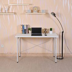 New MTN-G New MTN-G Office Computer Laptop Wooden Desk Study Table Workstation Home Furniture White