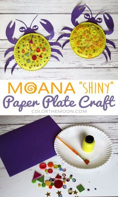 This Moana paper plate craft – Tamatoa crab is SO FUN and so easy to make! What a fun Moana craft for kids. This would make a great craft idea for a Moana birthday party too! Craft Moana Paper Plate Craft – Tamatoa Crab, with Free Printable Disney Diy, Disney Crafts For Kids, Toddler Crafts, Preschool Crafts, Moana Theme, Moana Party, Paper Plate Crafts, Paper Plates, Ideas Decoracion Cumpleaños