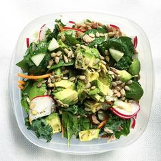 This salad as today's lunch   spinach/kale mix with tuna avocado cucumbers radishes carrots & sunflower seeds  dressed with lemon juice white balsamic & black pepper  it was so hard not to dig right in . . . . . . . #EatToSavor #CleanEating #lowcarb #Healthy #EatWell #fitfood #eatclean #healthyliving #healthyfood #paleo #feedfeed #whole30 #f52grams #healthyfoodporn #FitHealthyRecipes #cleaneats #healthyfoodshare #healthyrecipe #raw #fitness #glutenfree #fitfam #fitlondoners #buzzfeedfood…