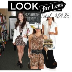 The Look for Less: July Edition~ Lucy Hale $84.86 Created by kurlyglamour celebrity street style booties ankle boots cheetah leopard animal print peep toe heels pumps black