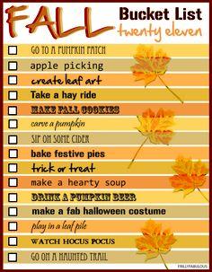 Fall Bucket List.   Great Ideas!