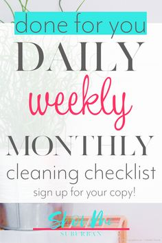 Finally keep your house clean (even if you only have 30 minutes a day! Struggling to keep your house clean? The Monthly Cleaning Checklist is your plan to keep your whole Bathroom Cleaning Checklist, Weekly Cleaning Checklist, Cleaning Fun, How To Organize Your Closet, Paper Organization, Organizing, Family Organizer, Homekeeping, Organized Entryway