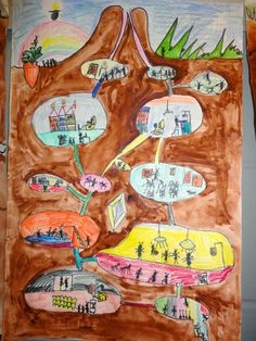 Thomas Elementary Art: The Underground Lives of Ants by 2nd grade. Science, ant body parts and habitats. What if ants were more like us?