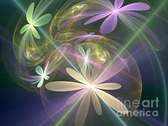 Ethereal flowers Digital Art by Svetlana Nikolova - Ethereal flowers Fine Art Prints and Posters for Sale