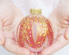 Faberge Inspired Christmas Ornament Frosted by SilverOwlStudio