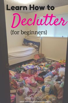 Are you sick of having so much stuff cluttering up your home and life? I'm no minimalist, but I decluttered and got rid of half my family of four's belongings last year! Learn how to declutter for beginners, and get tips, motivation, and declutter challenges to ease the stress your stuff gives you! Vital for all families with a highly sensitive child. #declutter #clutterfree #springcleaning