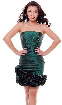 Taffeta Olive Green Cocktail Dress Ruched Rose Hem Short Strapless Prom Dress $69.99