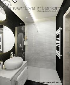 Projekt łazienki Inventive Interiors - białe płytki o strukturze fali