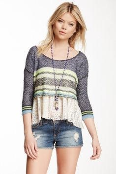 Free people mixed media sweater