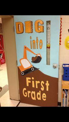 Construction themed classroom door More