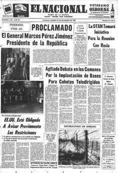 Proclamado el general Marcos Pérez Jiménez presidente de la República. Publicado el 21 de diciembre de 1957.