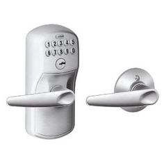 Schlage FE575 PLY 626 JAZ Plymouth Keypad Entry with Auto-Lock and Jazz Levers, Brushed Chrome by Schlage Lock Company. $145.45. Amazon.com                   Experience the freedom of keyless convenience.  No more hiding keys under the doormat. No more losing, forgetting, or making extra keys time and time again. Step up to a more secure and flexible solution with a Schlage Residential Keypad Lock. Install a new keypad lock yourself--with nothing more than a screwdriver. You're f...