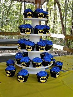 Batman Birthday Cupcake Wrappers by matteya on Etsy... do this for transfomers