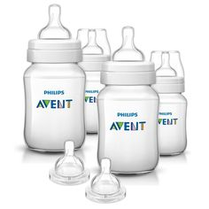 Philips Avent 9 Ounce Anti-Colic Baby Bottle 4 Pack with Fast Flow Nipples