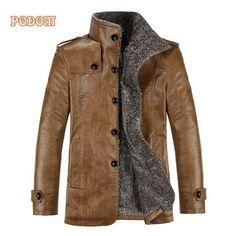 PU Leather Jackets Men Winter Warm Thicken Fleece Wool Liner Coat Windproof Outerwear Slim Fit Men Vintage Faux Fur Male Jacket