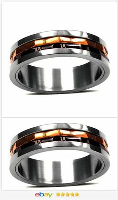 50% OFF #EBAY http://stores.ebay.com/JEWELRY-AND-GIFTS-BY-ALICE-AND-ANN Spinner Ring 18k gold AND Stainless Steel Surgical size 7