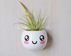 Cute kawaii Magnetic Ceramic Air Plant Planter - Gift- Desk Decor- Home Decor-Gift-Kitchen Decor- Office Decor- Birthday Gift - Party Favors