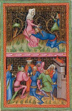 Miniature de la Bible de Wenceslas: Samson et Dalila, 1389