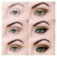 How to Green Eyes Makeup For Daytime Step By Step ❤ liked on Polyvore featuring beauty products