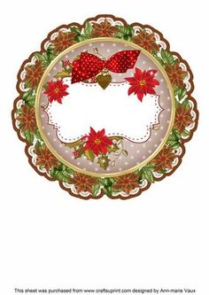 Purple Red Christmas Poinsettia Doily Card Insert Panel on Craftsuprint - Add To Basket! Christmas Decoupage, 3d Christmas, Christmas Poinsettia, Circle Shape, Christmas Wallpaper, Paper Quilling, Doilies, Scrapbook Pages, Embellishments