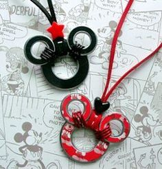 Mickey Mouse Washer Necklace | AllFreeJewelryMaking.com