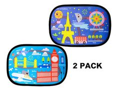 Car Sun Shade Pack) - Adorable Cartoon Design Sunshade by R'UXO - Protect Your Kids in The Back seat from Sun Glare and Heat. Blocks Over of Harmful UV Rays - Easy to Install Car Seat Accessories, Car Sun Shade, Cartoon Design, Back Seat, Of Brand, Car Seats, Image Link, Packing, Easy