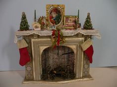One Inch Scale Shabby Chic Christmas Fireplace