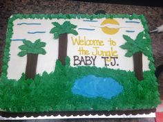 Jungle-themed baby shower cake.