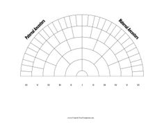This 6-generation family tree chart has room for six generations of your family in a fan-shaped layout. Free to download and print