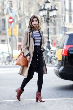 Winter layering style idea. Trench coat, stripe sweater, leather jacket, button front skirt, and brown boots. Love this layered outfit.