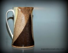Latte & Cream Stoneware Tall Coffee Mug-Rustic-Cottage Chic-Cup-Teacup-Drinking Cup-Pottery and Ceramics-Handmade Pottery on Etsy, $30.00