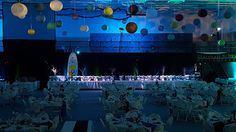 """Marshall School Spring fundraiser. """"Night along the North Shore"""" Up lighting in blue and greens, with tree gobos. www.dulutheventlighting.com © 2016 Duluth Event Lighting. All Rights Reserved."""