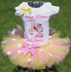 Minnie Mouse First Birthday Outfit FAST by TwistinTwirlinTutus, $49.99