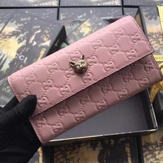 eb2e24edb52 Purchase a Gucci Signature Continental Wallet with Cat Pink at cheap rate-  USD 153. Free Global Shipping by courier.