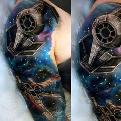 100 Star Wars Tattoos For Men Masculine Ink Design Ideas - Star Wars Shoes - Ideas of Star Wars Shoes - Galaxy And Star War Vehicles Tattoo Male Full Sleeves Star Wars Tattoo, War Tattoo, Neck Tattoo For Guys, Tattoos For Guys, Comic Book Tattoo, Tiki Tattoo, Star Wars Shoes, Star Wars Spaceships, Star Wars Vehicles