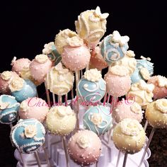 Shabby chic themed cake pops