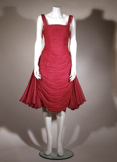Jean Desses couture dress c1958.  Fuschia silk chiffon with original hood.