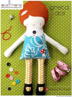Doll Pattern - Greta Doll PDF Sewing Pattern - Girl Doll Sewing Pattern. $12.00, via Etsy.