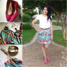 White t-shirt, printing skirt ans pink shoes. Camiseta branca, saia azul turquesa estampada, pink scarpin. Link: http://www.elropero.com/2014/01/fashion-set-look-de-natal-saia-turquesa-florida.html