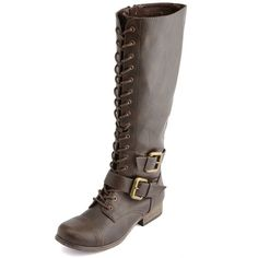 b7e2836a139a Charlotte Russe Lace-Up Double Buckle Combat Boot (975 RUB) ❤ liked on