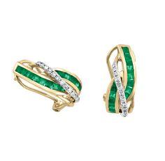 Aretes oro 14k con 11 puntos de diamante y 69 puntos de esmeralda  Precio en boutique $10,125.00 Precio en tienda online $9,113.00