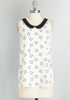 Classy Collector Top in Pandas, @ModCloth