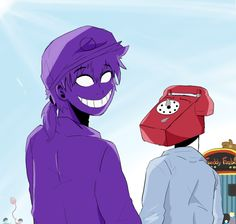 Purple guy and Phone guy. I don't ship them, but I like Purple guy in this pin.