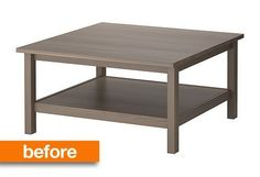 "Before & After: ""Barnwood"" Coffee Table IKEA Hack City Farmhouse"