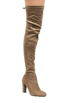 CherryMad Black Over The Knee Chunky Heel Thigh High Round Toe Boots - Taupe - - Women's Shoes, Boots, Over-the-Knee Tall Boots, Women's Boots, Women's Over The Knee Boots, Chunky Heels, Thigh Highs, On Shoes, Kylie, Taupe, Thighs
