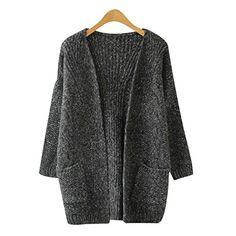 df6666d63 SAYM Women s Twist Pockets School Wear Sweater Loose Long Knit Cardigan D- Grey at Amazon Women s Clothing store