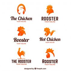 Collection of logos of roosters Free Vector Badge Design, Logo Design Template, Logo Templates, Chicken Vector, Chicken Logo, Logo Generator, Chicken Brands, Rooster Logo, Community Logo