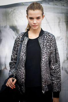 Josephine Skriver. Love her jacket!