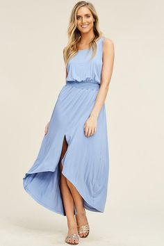 61c0a14b2 Grace Smoked Waist Maxi Dress : Sky Blue – GOZON Boutique Sale Items,  Smocking,